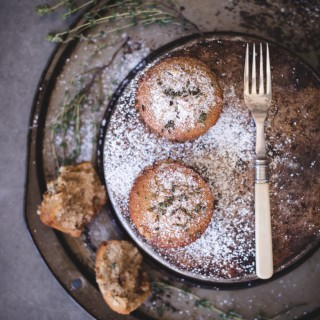 Honey, walnut + thyme muffins