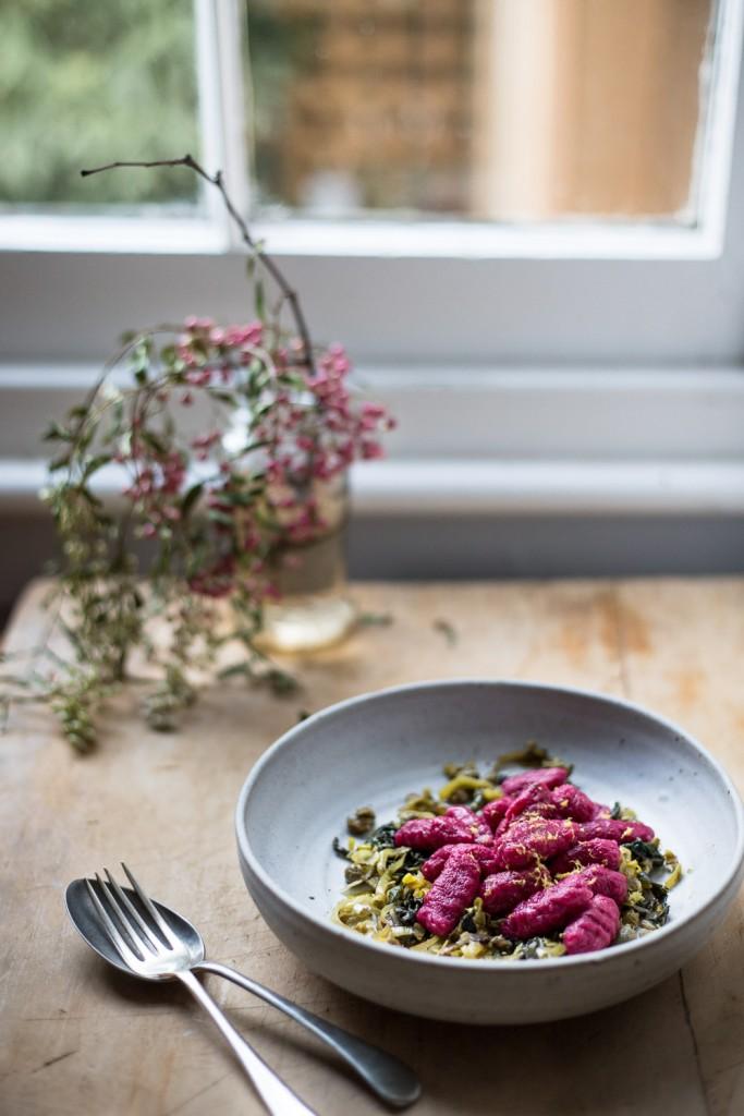 beetroot gnocchi w caper + leek gremolata - to her core