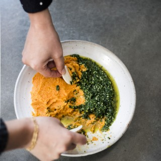 Roasted carrot hummus + carrot-top pesto
