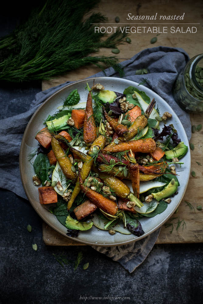 Roasted root vegetable salad - to her core