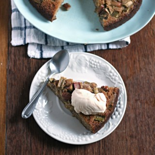 Coconut and rhubarb cake (grain free, gluten free, dairy free)