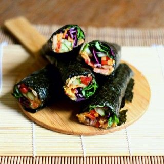 Grain-free nori wraps with roasted carrot hummus and marinated mushrooms. Gluten/grain/dairy free   to her core