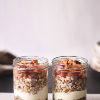 Easy apple crumble parfaits with yoghurt and buckwheat porridge - to her core